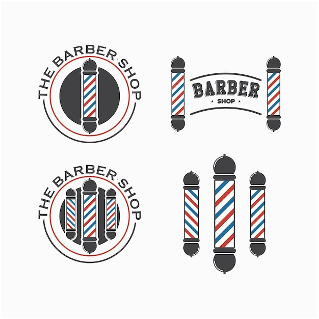 Barber shop logo set vector template design Vector Premium