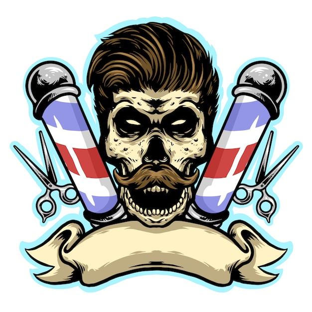 Barbería de calavera con mascota de diseño de logotipo de corte y pancarta Vector Premium