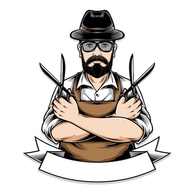 Barberman con ilustración de tijera Vector Premium