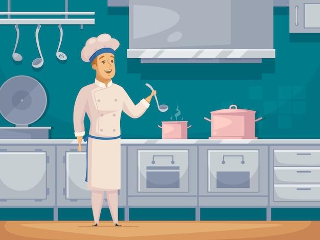 Barco cocinero personaje de dibujos animados banner vector gratuito
