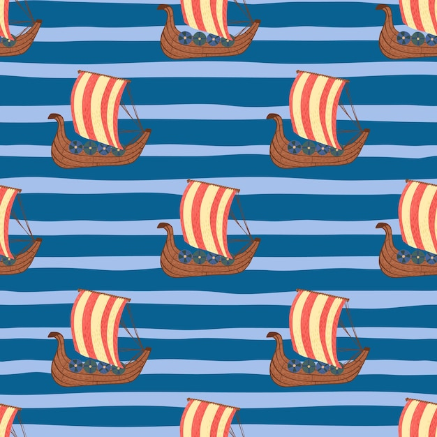 Barco de color rojo brillante formas patrón de doodle sin fisuras. fondo azul despojado. Vector Premium