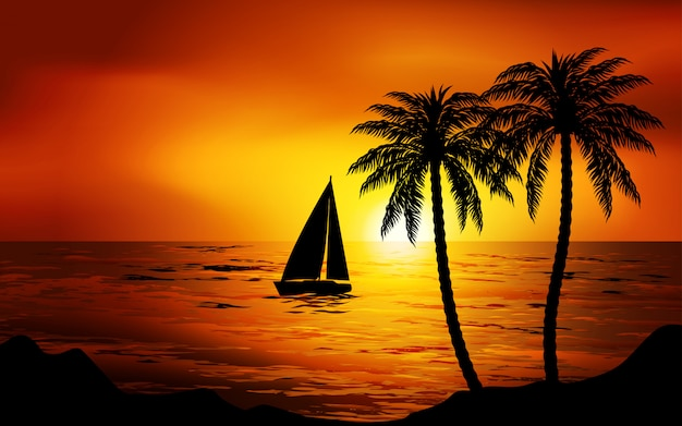 Barco navegando en puesta de sol Vector Premium