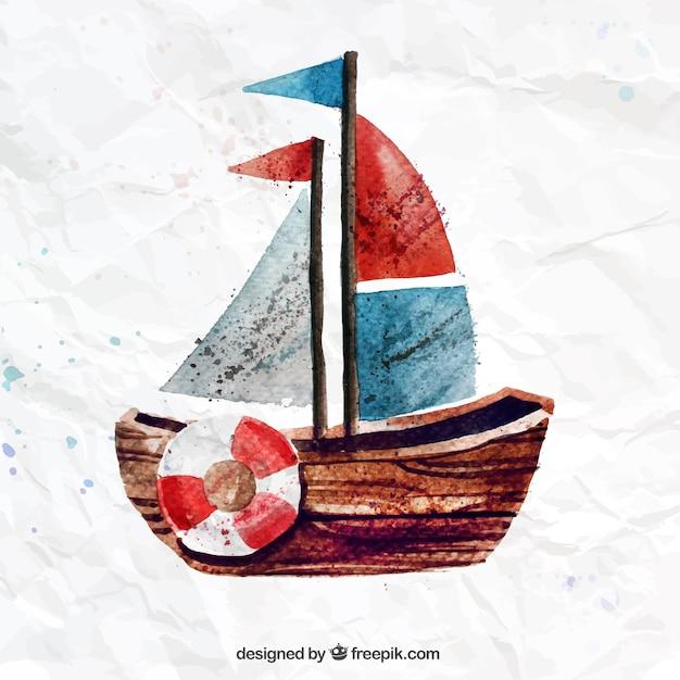 Barco pintado a mano vector gratuito