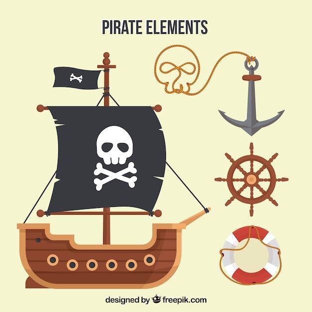 Barco pirata y elementos en diseño plano | Descargar Vectores gratis