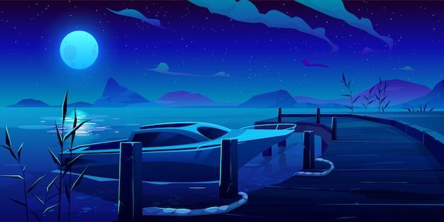 Barco, yate amarrado al muelle en la noche río o lago vector gratuito