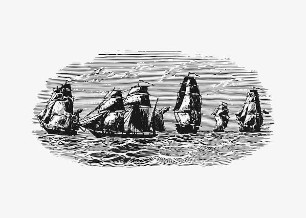 Barcos navegando en el oceano vector gratuito