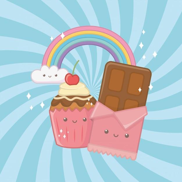 Barra de chocolate dulce y dulces kawaii personajes. vector gratuito