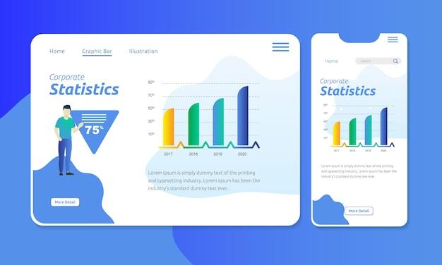 Barra gráfica para estadísticas corporativas en encabezado web de pantalla móvil Vector Premium