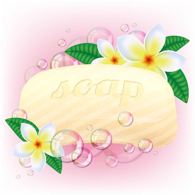Barra de jabón amarillo con burbujas y flores blancas en rosa. Vector Premium