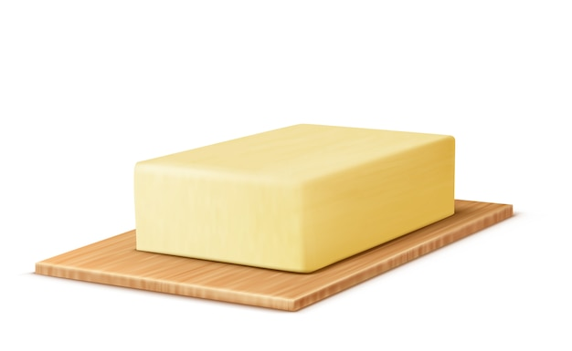 Barra de mantequilla amarilla en la tabla de cortar, margarina o extensión, producto lácteo natural vector gratuito