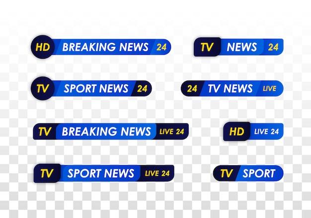 Barra de noticias de tv. banner de título de medios de transmisión de televisión. transmisión de televisión en vivo, programa de transmisión. noticias deportivas Vector Premium