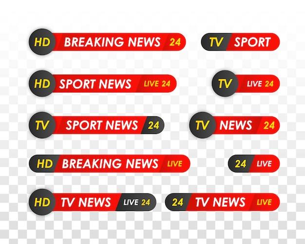 Barra de noticias de tv. logos, canales de noticias, televisión, radio. banner de título de medios de transmisión de televisión. noticias deportivas Vector Premium