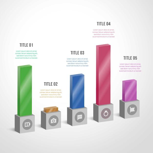 Barras de colores infografía vector gratuito