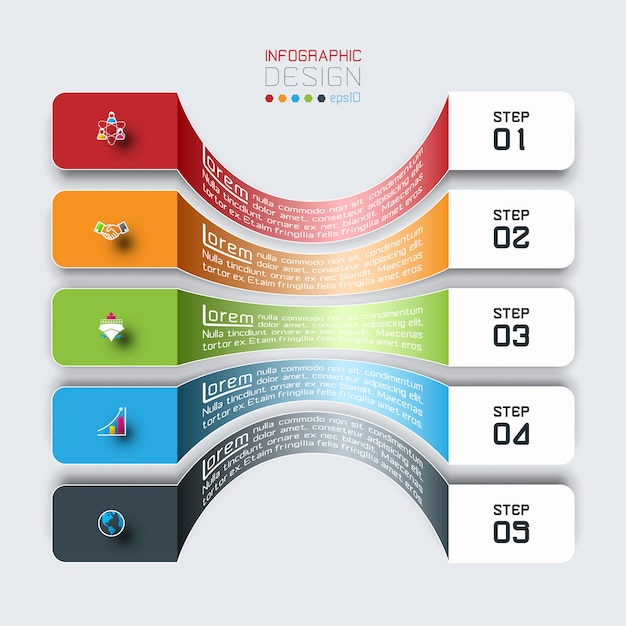 Barras horizontales con infografías de iconos de negocios. Vector Premium