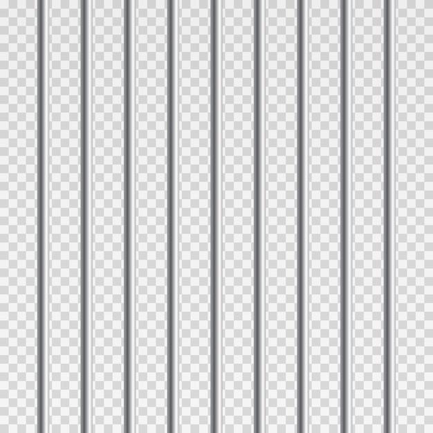 Barras de metal de la prisión o barras aisladas. realista valla de la cárcel. camino a la libertad. concepto penal o sentencia. Vector Premium