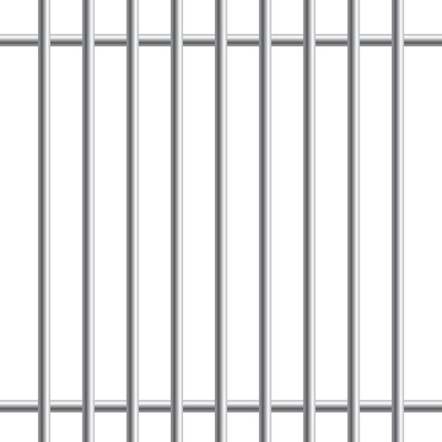 Barras de metal de la prisión o barras aisladas sobre fondo blanco. realista valla de la cárcel. camino a la libertad. concepto penal o sentencia. ilustración. Vector Premium