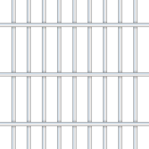 Barras de prisión aisladas en transparente. camino a la libertad. ilustración. Vector Premium