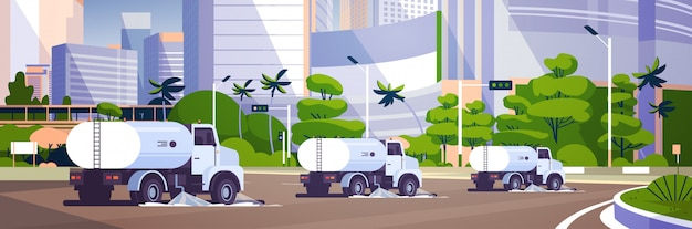 Barredoras de calles lavando asfalto Vector Premium