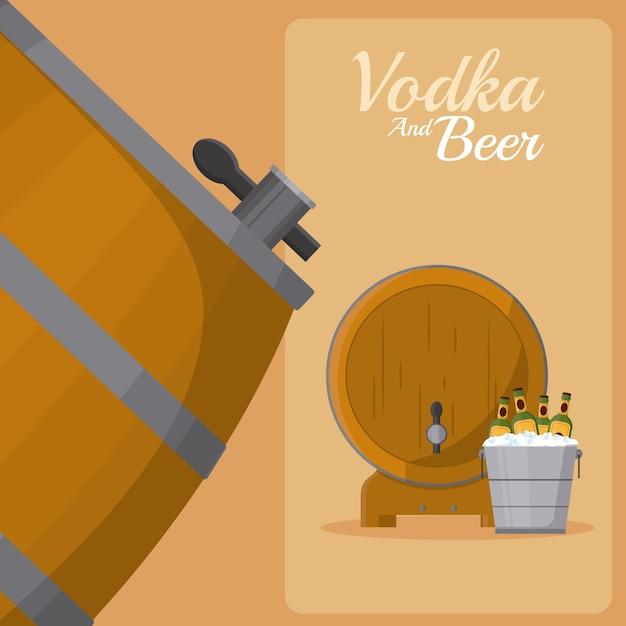 Barril de cerveza y botellas dentro de cubo de hielo Vector Premium