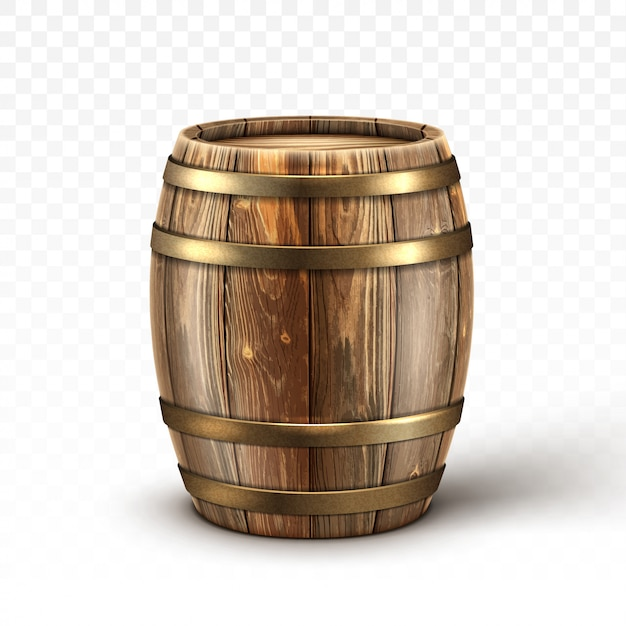 Barril de madera realista para vino o cerveza vector gratuito