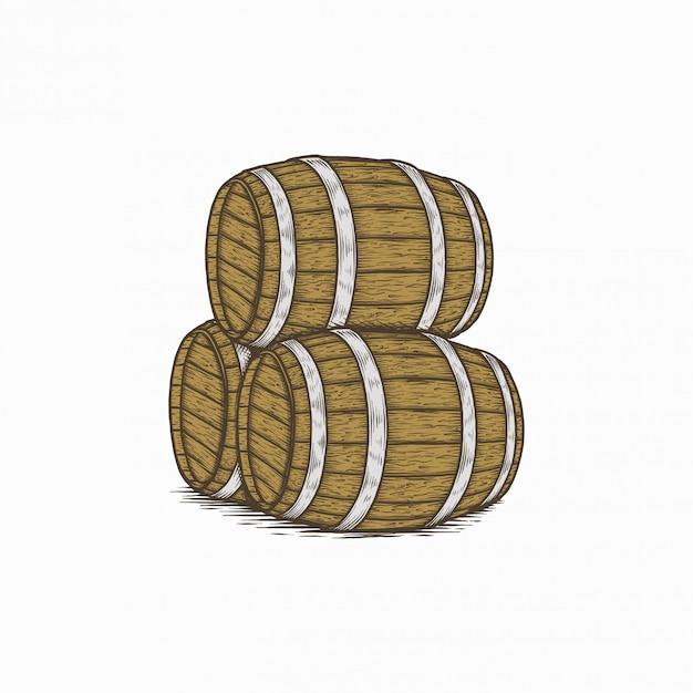 Barril de vino vintage dibujado a mano Vector Premium