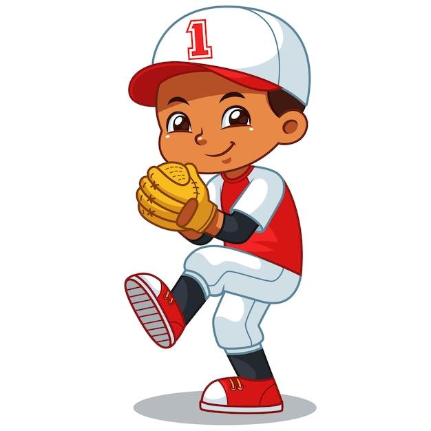 Baseball pitcher boy listo para lanzar. | Descargar Vectores Premium