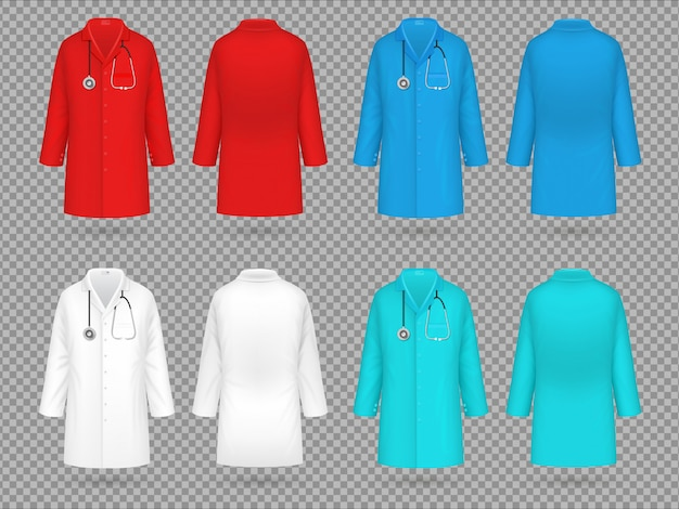 Bata de doctor. colorido uniforme de laboratorio, ropa de laboratorio médico médico realista Vector Premium