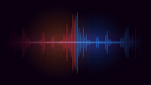 La batalla entre la frecuencia de la onda de sonido roja y la azul sobre fondo oscuro. ilustración abstracta sobre música y audio. Vector Premium