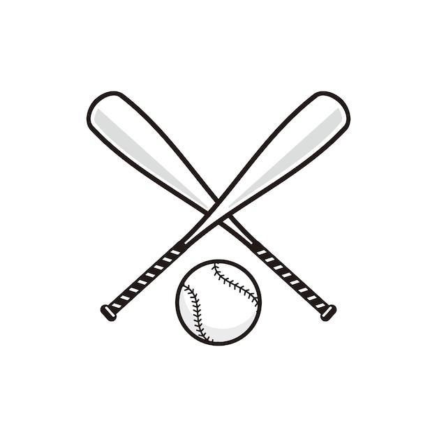 Bate De Béisbol Con El Vector De Pelota De Béisbol Vector