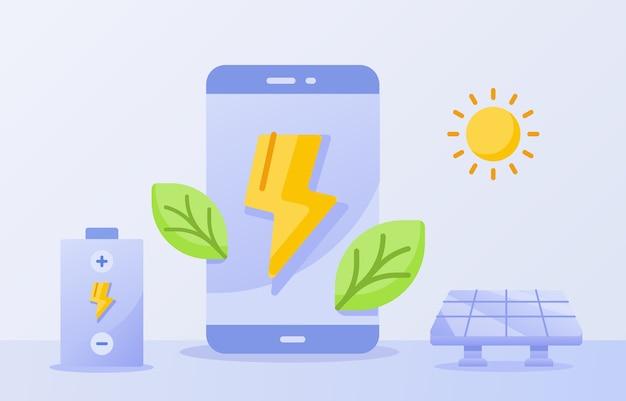 Batería eficiente para el concepto de smartphone rayo de hoja verde en la pantalla de visualización energía solar sol fondo blanco aislado Vector Premium