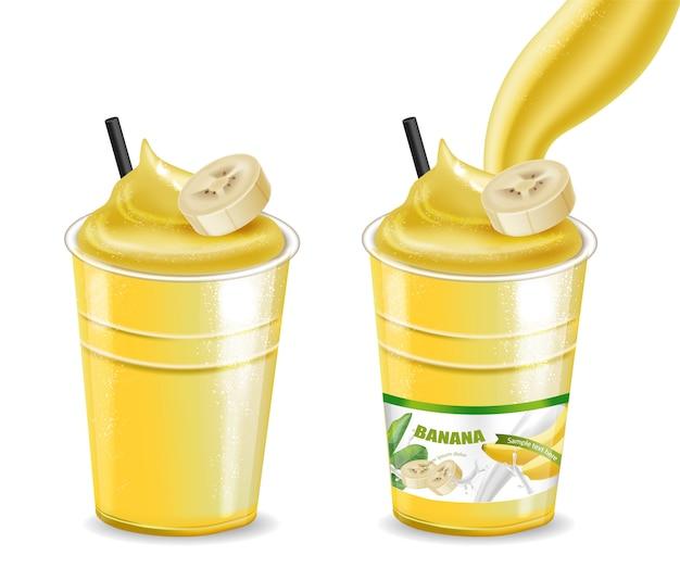 Batido de cóctel de plátano Vector Premium