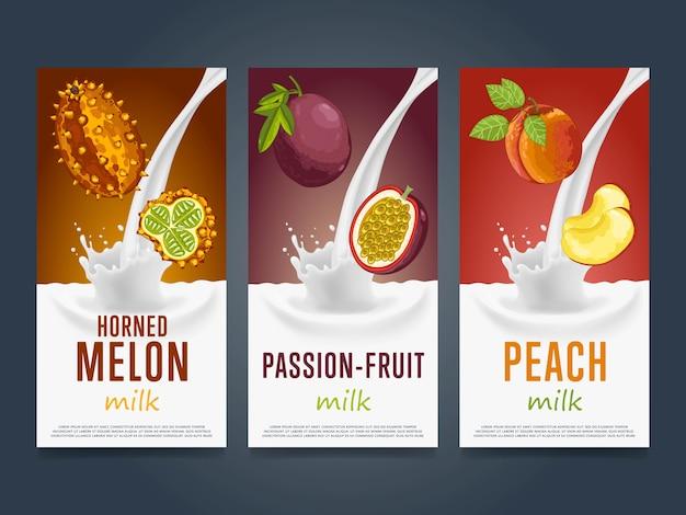 Batido de frutas splash postre cóctel bebida Vector Premium