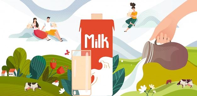 Batido de leche bebida de verano en prado verde con vacas, flores y paquete de leche, jóvenes, ilustración de bebida láctea. Vector Premium