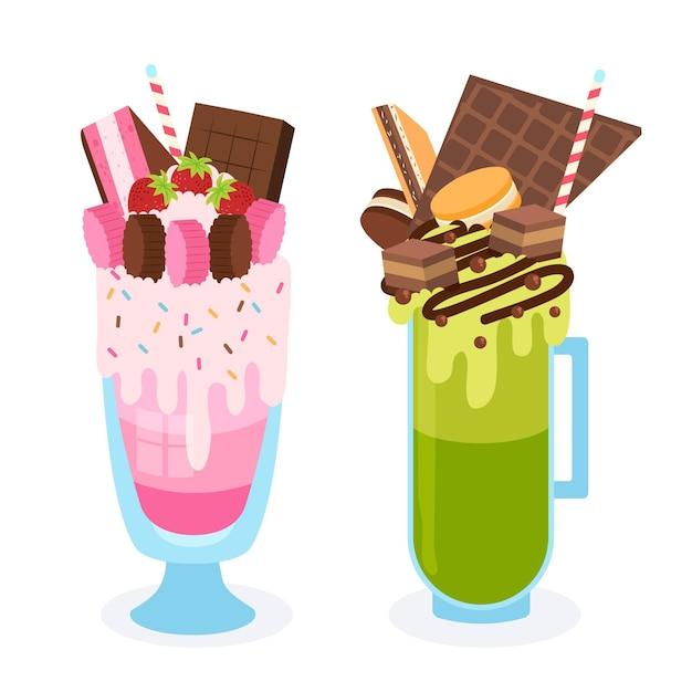 Batido de monstruo dibujado a mano en sabores rosados y verdes vector gratuito