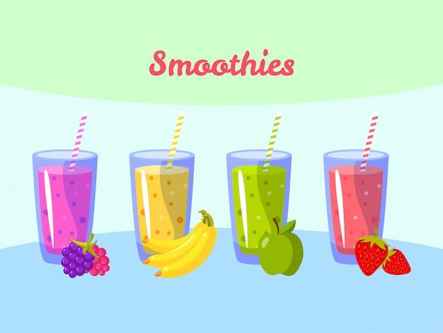 Batidos de dibujos animados. berry plátano manzana y fresa. batido de fruta orgánico Vector Premium