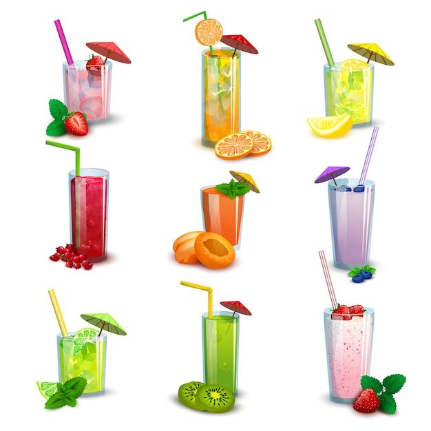 Batidos de verano bebidas conjunto de iconos planos vector gratuito