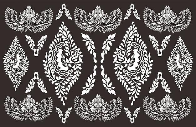 Batik motif indonesio, diseños especiales que están estampados. Vector Premium