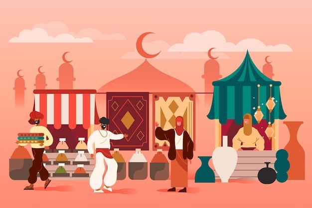 Bazar árabe con silueta de mezquita. vector gratuito