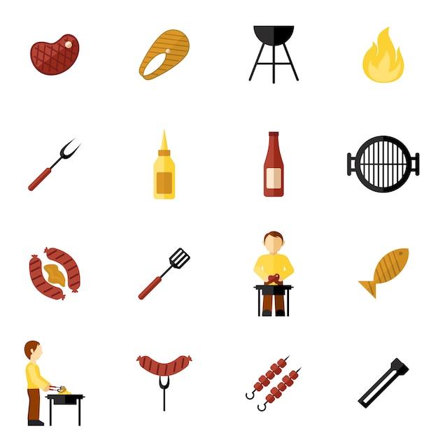 Bbq grill icon flat vector gratuito