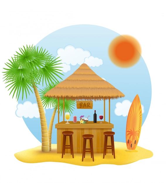 Beach stall bar para vacaciones de verano en resort en los trópicos Vector Premium