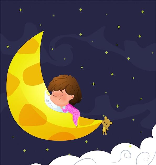El bebé duerme en la luna. ilustración vectorial Vector Premium