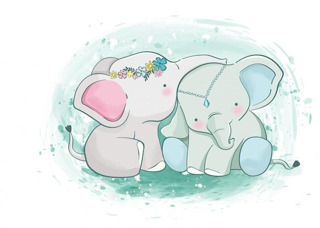 Bebé elefante Vector Premium