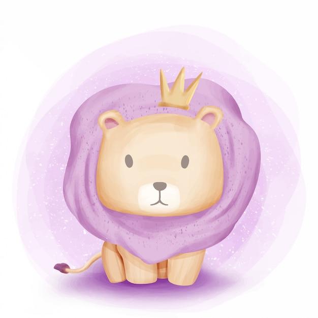 Bebé león león de la selva acuarela Vector Premium