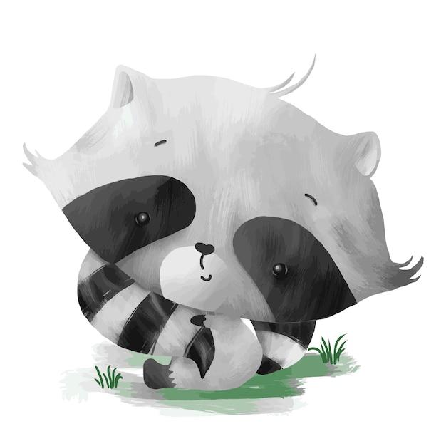 Bebé mapache sosteniendo su propia cola Vector Premium