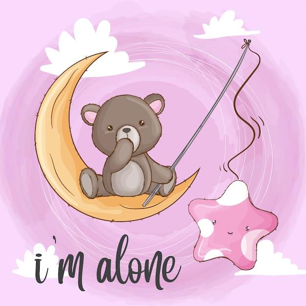 Bebé oso en la luna dibujado a mano animal Vector Premium