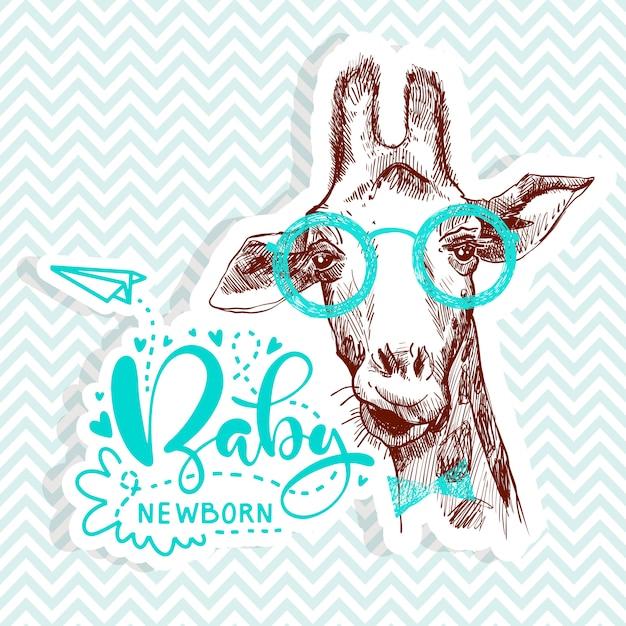 Bebé recién nacido cita con bonita jirafa para fiesta de baby shower Vector Premium