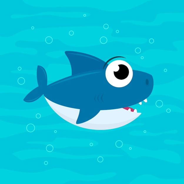 Bebé tiburón plano en estilo de dibujos animados vector gratuito