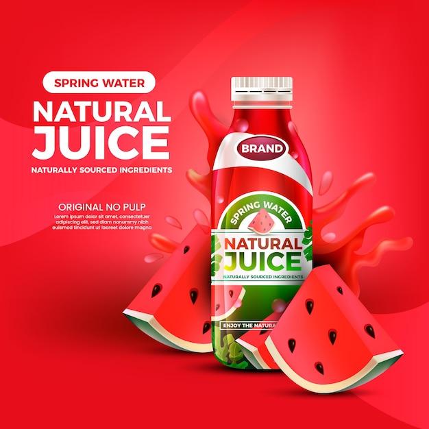 Beber jugo de sandía ad nature vector gratuito