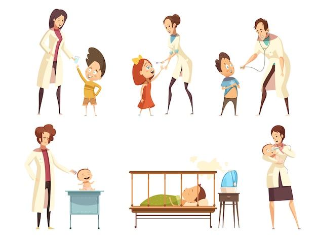 Los bebés enfermos, los pacientes, el tratamiento en el hospital, los iconos de situaciones de dibujos animados retro establecidos con las enfermeras es vector gratuito