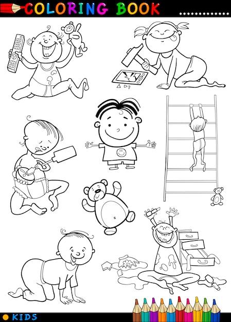 Bebes Lindos De Dibujos Animados Para Colorear Vector Premium